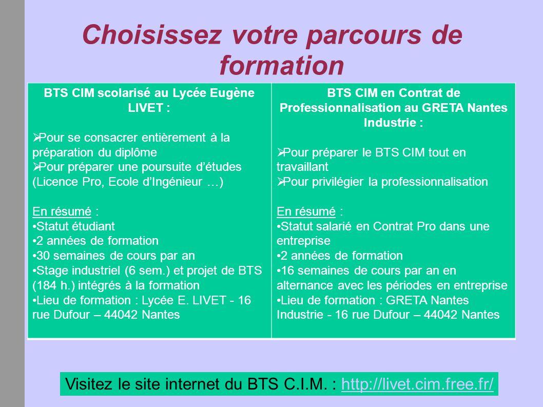 Choisissez votre parcours de formation Visitez le site internet du BTS C.I.M. : http://livet.cim.free.fr/http://livet.cim.free.fr/ BTS CIM scolarisé a