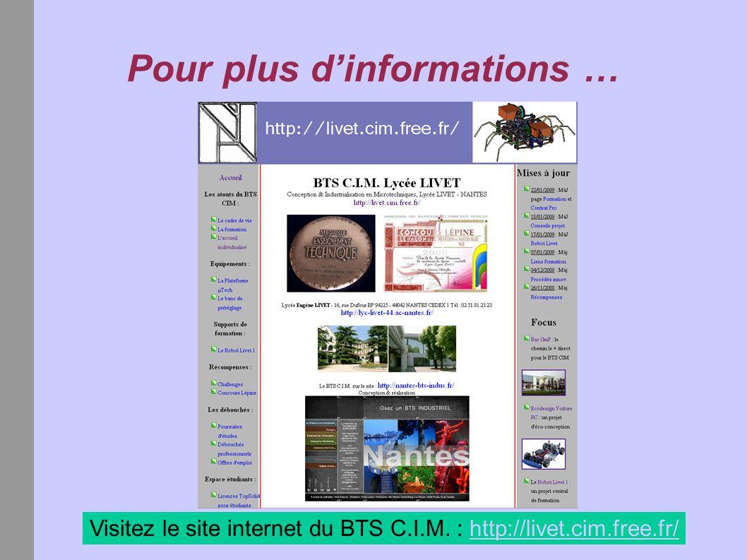 Pour plus d'informations … Visitez le site internet du BTS C.I.M. : http://livet.cim.free.fr/http://livet.cim.free.fr/