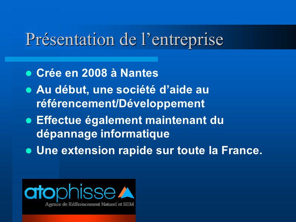 Présentation de l'entreprise Crée en 2008 à Nantes Au début, une société d'aide au référencement/Développement Effectue également maintenant du dépann