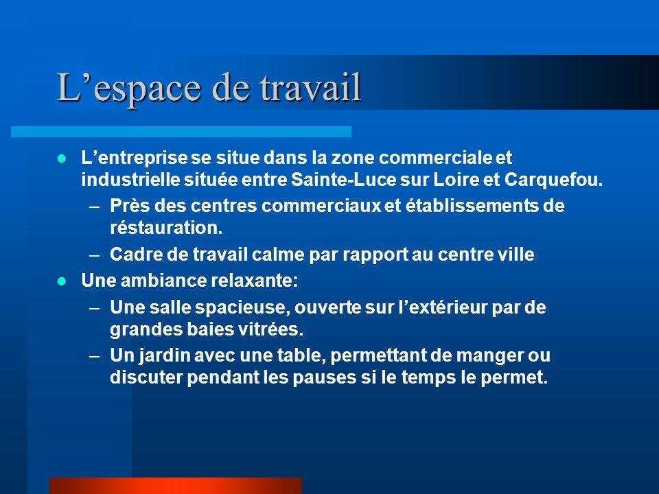 L'espace de travail L'entreprise se situe dans la zone commerciale et industrielle située entre Sainte-Luce sur Loire et Carquefou. –Près des centres