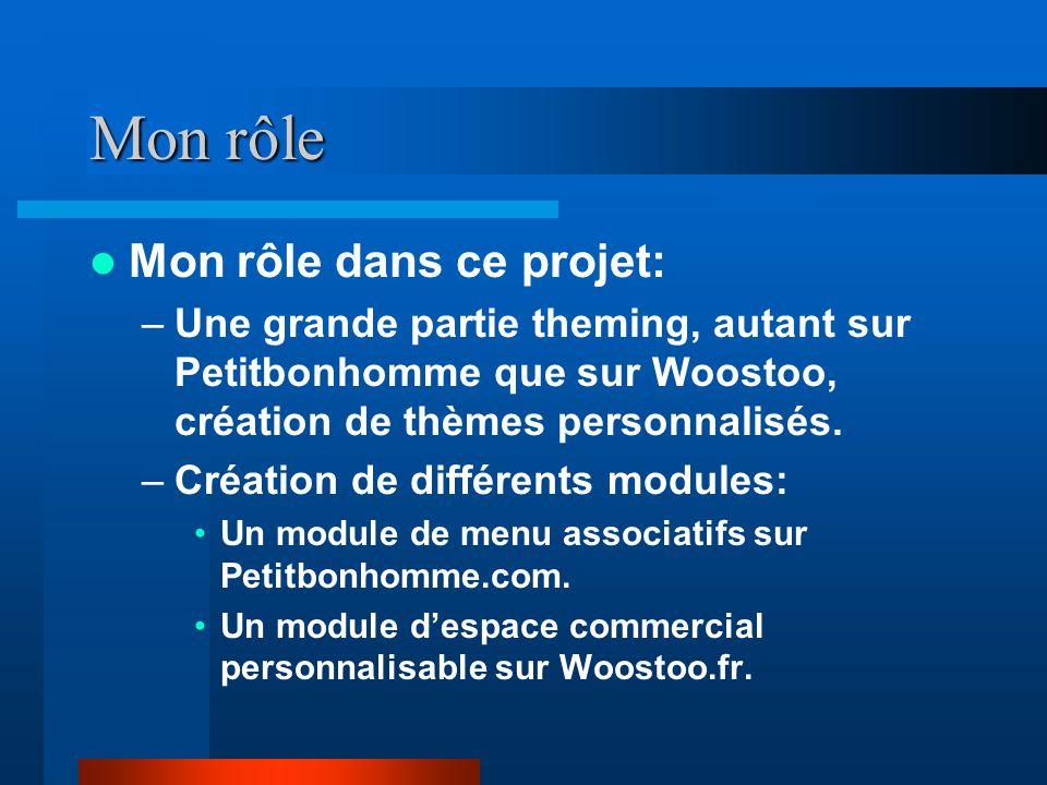 Mon rôle Mon rôle dans ce projet: –Une grande partie theming, autant sur Petitbonhomme que sur Woostoo, création de thèmes personnalisés. –Création de