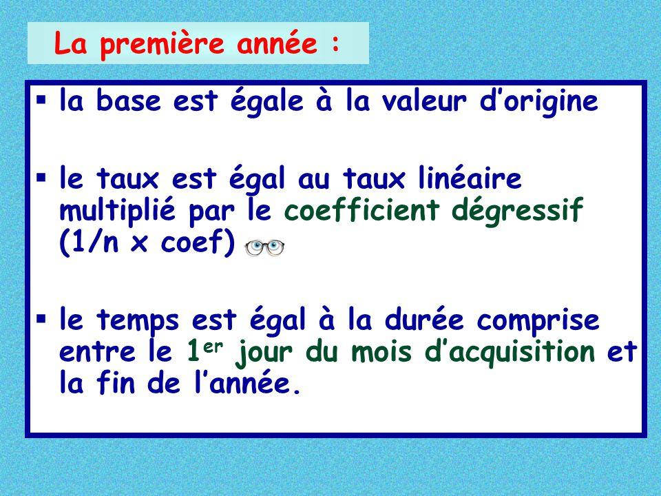 §la base est égale à la valeur d'origine §le taux est égal au taux linéaire multiplié par le coefficient dégressif (1/n x coef) §le temps est égal à l