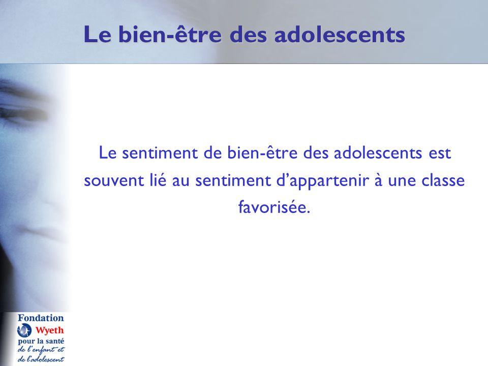 Le bien-être des adolescents Le sentiment de bien-être des adolescents est souvent lié au sentiment d'appartenir à une classe favorisée.