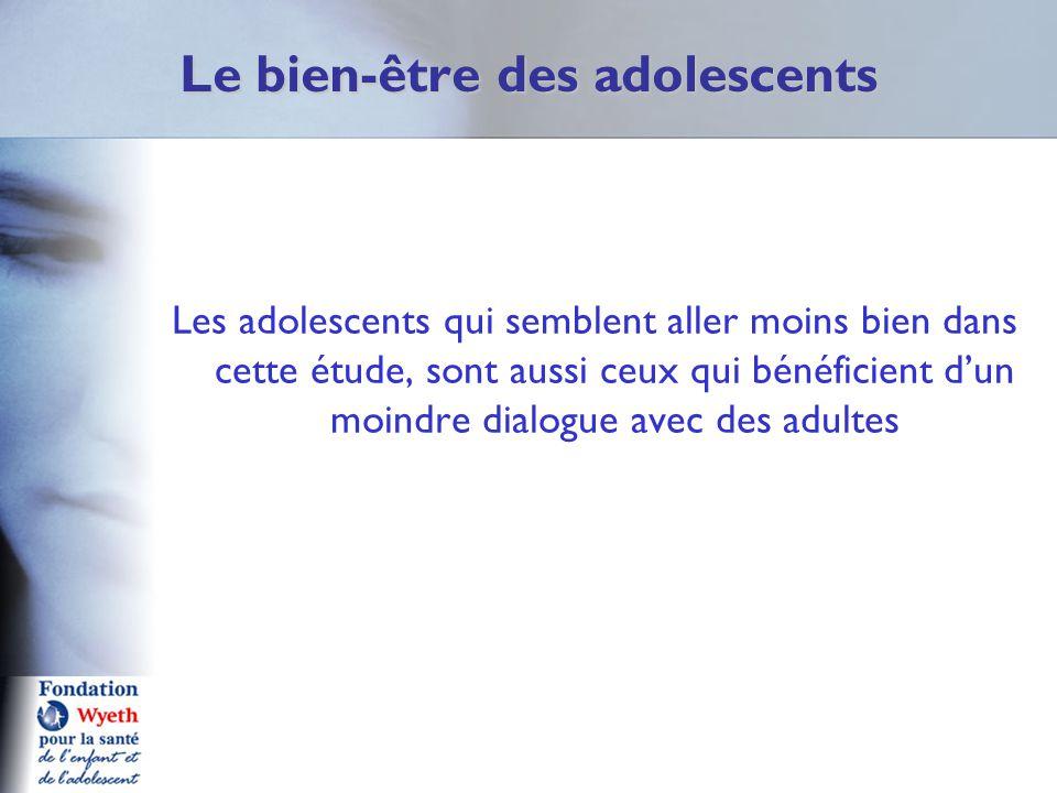Le bien-être des adolescents Les adolescents qui semblent aller moins bien dans cette étude, sont aussi ceux qui bénéficient d'un moindre dialogue ave