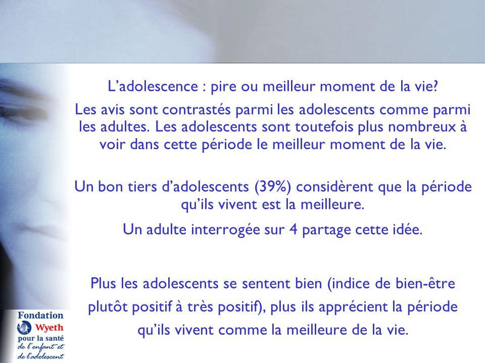L'adolescence : pire ou meilleur moment de la vie? Les avis sont contrastés parmi les adolescents comme parmi les adultes. Les adolescents sont toutef