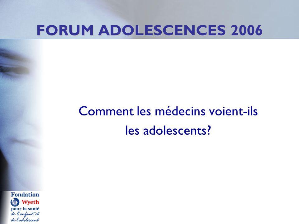 Comment les médecins voient-ils les adolescents FORUM ADOLESCENCES 2006