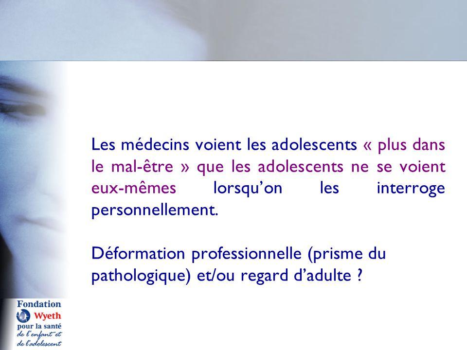 Les médecins voient les adolescents « plus dans le mal-être » que les adolescents ne se voient eux-mêmes lorsqu'on les interroge personnellement.