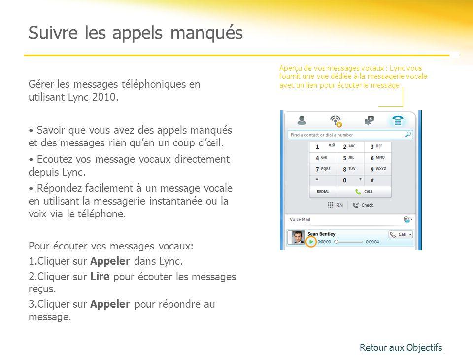Gérer les messages téléphoniques en utilisant Lync 2010. Savoir que vous avez des appels manqués et des messages rien qu'en un coup d'œil. Ecoutez vos