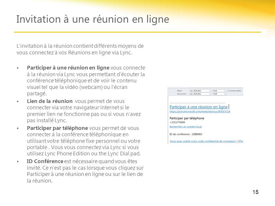 Invitation à une réunion en ligne 15 L'invitation à la réunion contient différents moyens de vous connectez à vos Réunions en ligne via Lync. Particip
