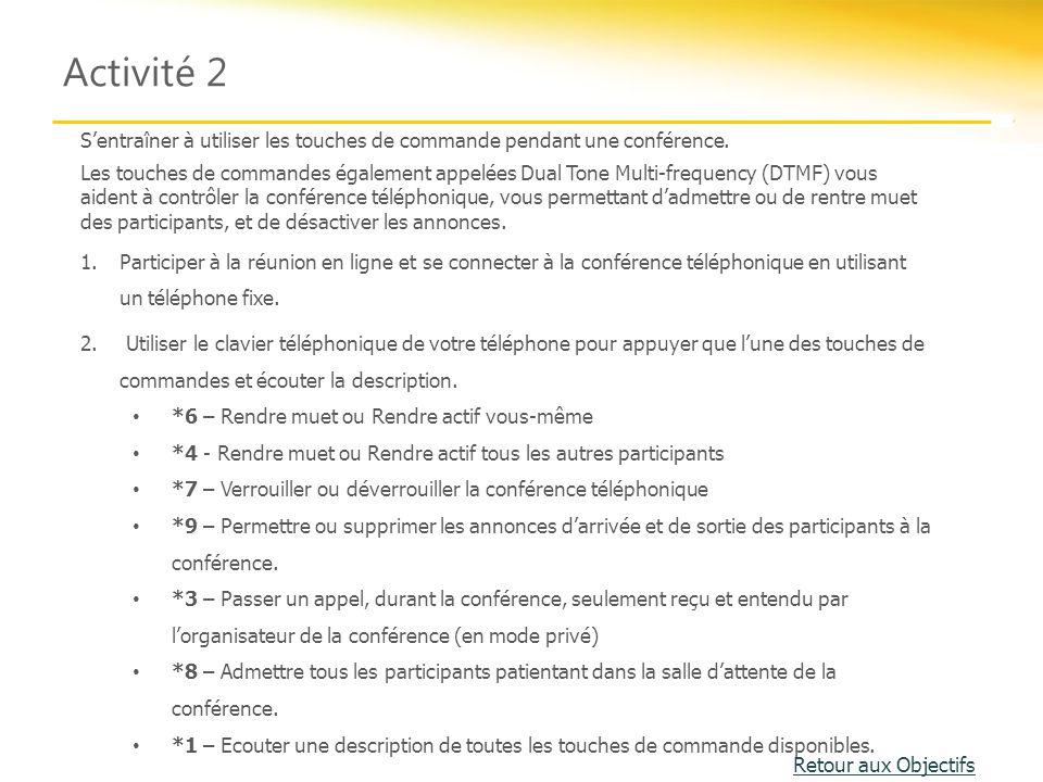 Activité 2 S'entraîner à utiliser les touches de commande pendant une conférence. Les touches de commandes également appelées Dual Tone Multi-frequenc