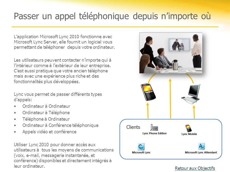 Passer un appel téléphonique depuis n'importe où L'application Microsoft Lync 2010 fonctionne avec Microsoft Lync Server, elle fournit un logiciel vou