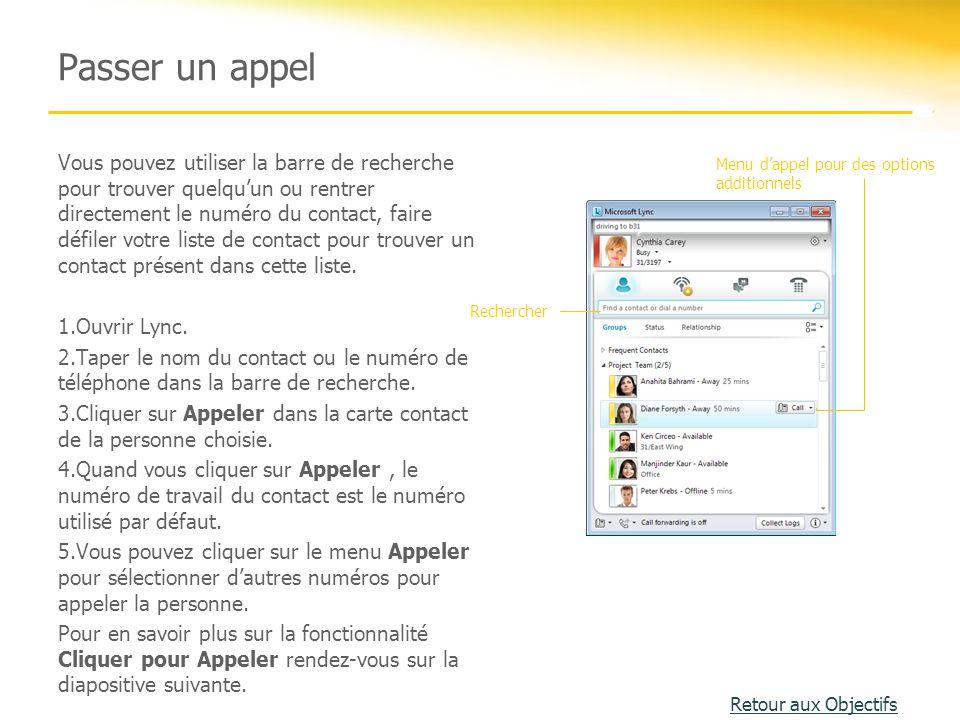 Activité 1 Cette activité prépare les utilisateurs de Lync à des réunions en ligne utilisant la voix.