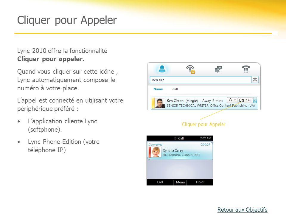 Cliquer pour Appeler Lync 2010 offre la fonctionnalité Cliquer pour appeler. Quand vous cliquer sur cette icône, Lync automatiquement compose le numér