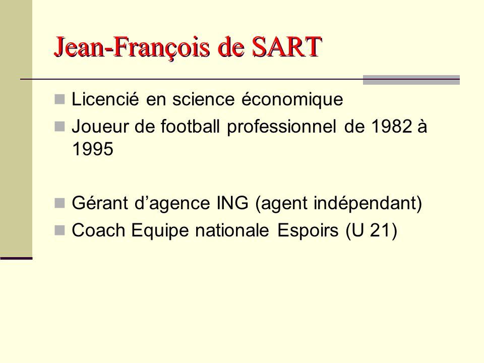 Jean-François de SART Licencié en science économique Joueur de football professionnel de 1982 à 1995 Gérant d'agence ING (agent indépendant) Coach Equ