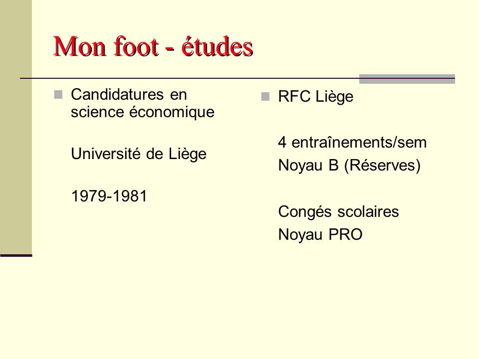 Mon foot - études Licence en science économique Université de Liège 1981-1983 RFC Liège Noyau PRO 5-6 entraînements/sem priorité = école