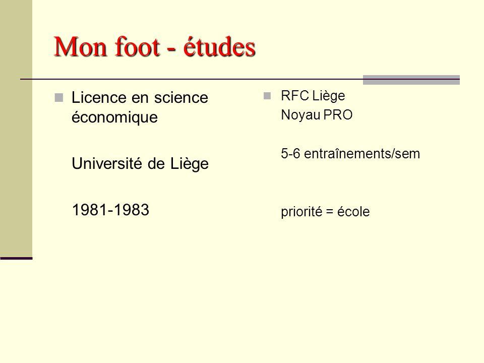 Le foot – études aujoud'hui Exemple : Nicolas LOMBAERTS