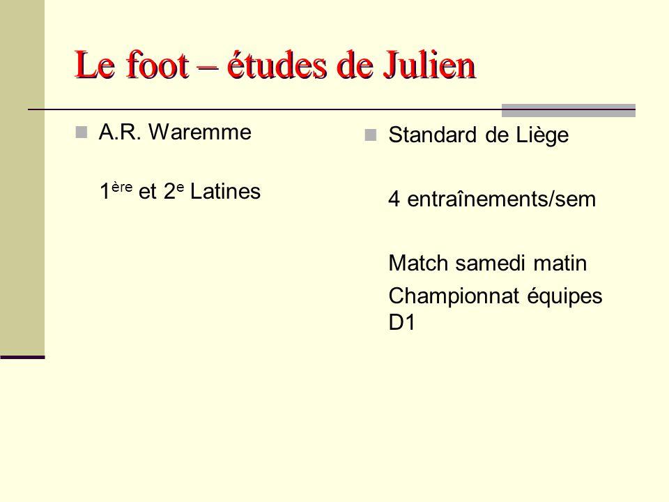 Le foot – études de Julien A.R. Waremme 1 ère et 2 e Latines Standard de Liège 4 entraînements/sem Match samedi matin Championnat équipes D1