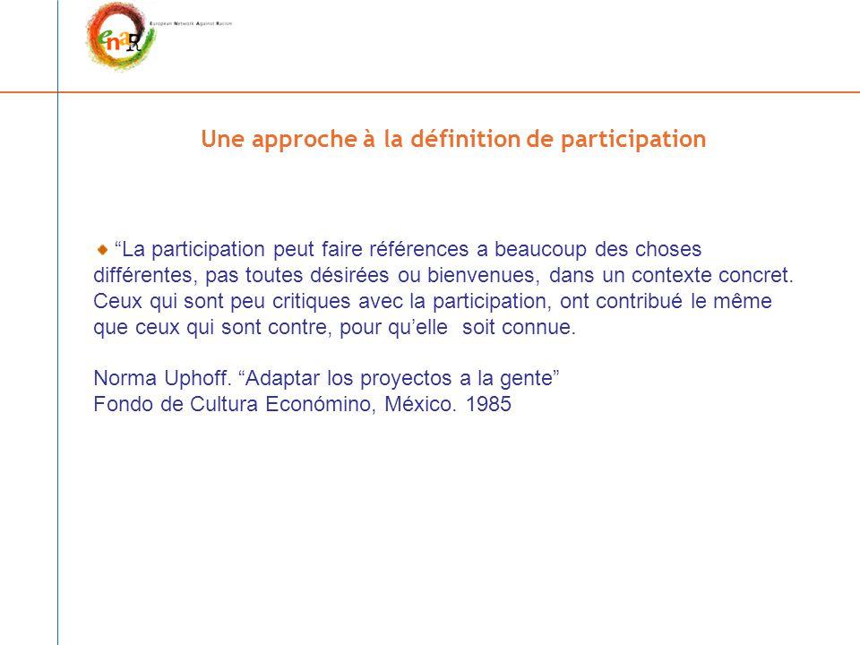 Une approche à la définition de participation La participation peut faire références a beaucoup des choses différentes, pas toutes désirées ou bienvenues, dans un contexte concret.