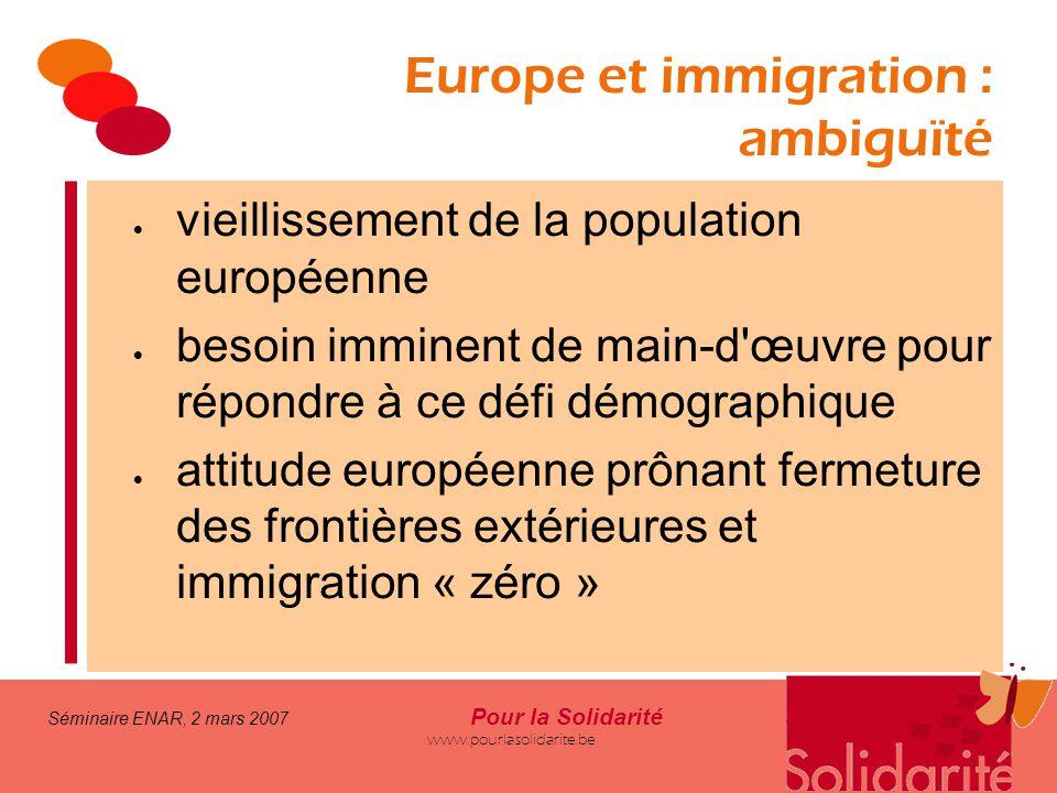 Séminaire ENAR, 2 mars 2007 Pour la Solidarité www.pourlasolidarite.be Europe et immigration : ambiguïté  vieillissement de la population européenne