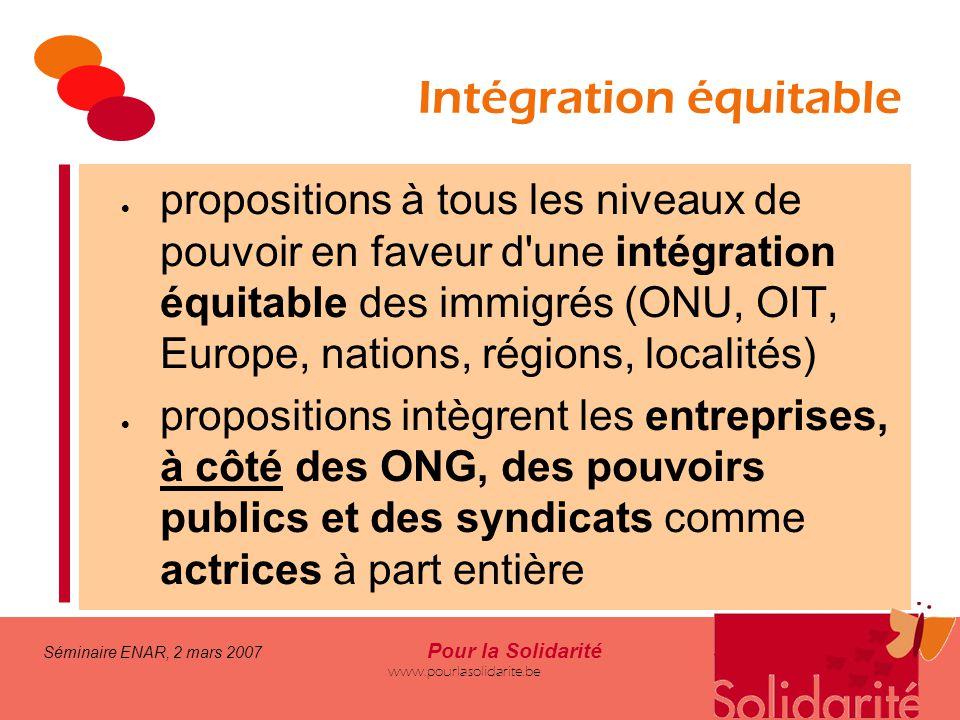 Séminaire ENAR, 2 mars 2007 Pour la Solidarité www.pourlasolidarite.be Intégration équitable  propositions à tous les niveaux de pouvoir en faveur d'