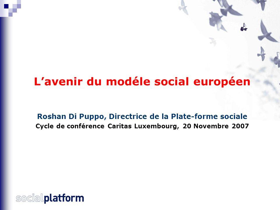 L'avenir du modèle social européen Conclusion et proposition de débat Pistes pour renforcer la dimension sociale de l'UE Clarifier le projet politique européen et sa composante sociale - Réviser la stratégie de Lisbonne.