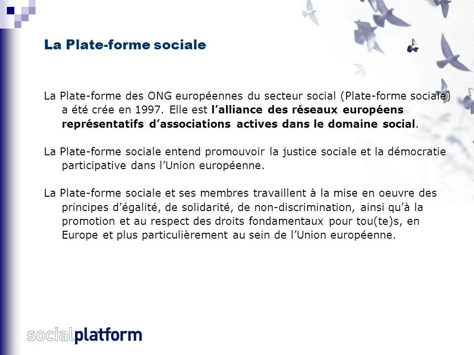 La Plate-forme sociale La Plate-forme des ONG européennes du secteur social (Plate-forme sociale) a été crée en 1997.