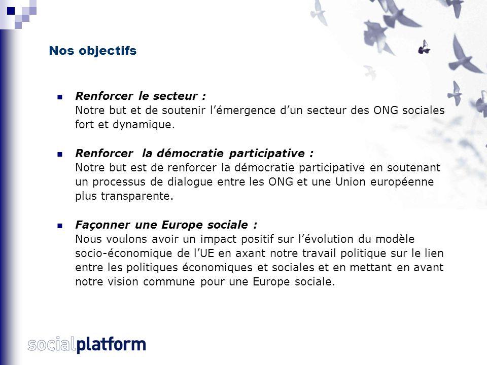 Nos activités La Plate-forme sociale: - S'efforce de faire avancer les demandes de ses membres en défendant des positions communes et en soutenant leurs activités au niveau de l'UE et auprès des responsables politiques européens - Diffuse des informations sur les politiques européennes qui concernent les ONG sociales et aident à la compréhension de ces politiques - Renforce la solidarité, la coopération et l'expertise en favorisant l'échange par les ONG sociales de leurs connaissances et expériences
