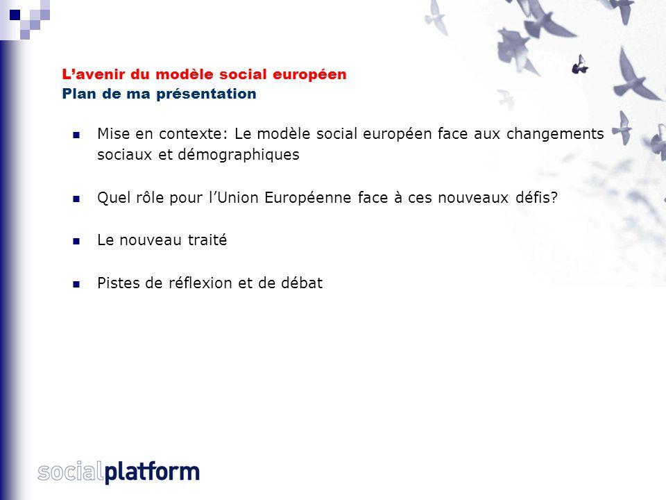 L'avenir du modèle social européen Plan de ma présentation Mise en contexte: Le modèle social européen face aux changements sociaux et démographiques Quel rôle pour l'Union Européenne face à ces nouveaux défis.