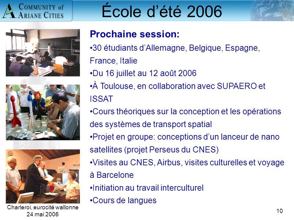 Charleroi, eurocité wallonne 24 mai 2006 10 École d'été 2006 Prochaine session: 30 étudiants d'Allemagne, Belgique, Espagne, France, Italie Du 16 juil