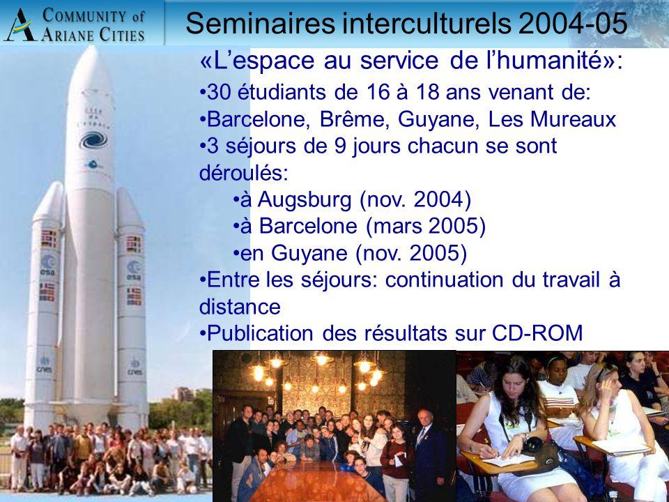 Charleroi, eurocité wallonne 24 mai 2006 13 «L'espace au service de l'humanité»: 30 étudiants de 16 à 18 ans venant de: Barcelone, Brême, Guyane, Les