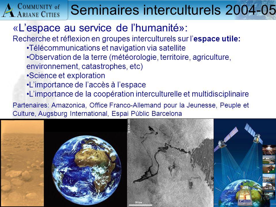 Charleroi, eurocité wallonne 24 mai 2006 14 Seminaires interculturels 2004-05 «L'espace au service de l'humanité»: Recherche et réflexion en groupes i