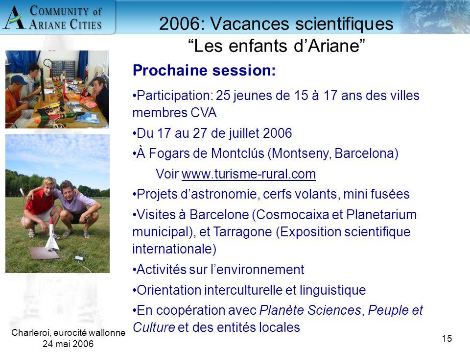 """Charleroi, eurocité wallonne 24 mai 2006 15 2006: Vacances scientifiques """"Les enfants d'Ariane"""" Prochaine session: Participation: 25 jeunes de 15 à 17"""