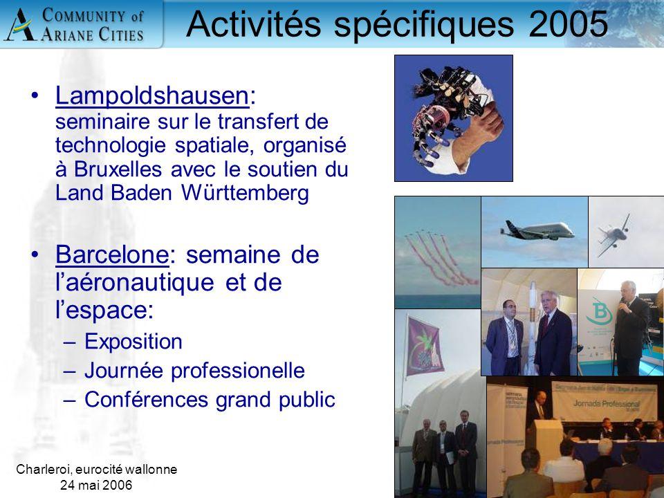 Charleroi, eurocité wallonne 24 mai 2006 16 Lampoldshausen: seminaire sur le transfert de technologie spatiale, organisé à Bruxelles avec le soutien d