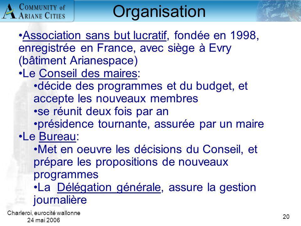 Charleroi, eurocité wallonne 24 mai 2006 20 Organisation Association sans but lucratif, fondée en 1998, enregistrée en France, avec siège à Evry (bâti