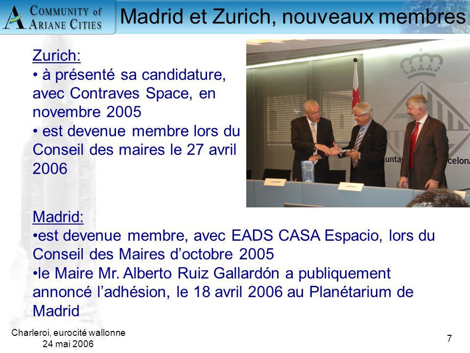 Charleroi, eurocité wallonne 24 mai 2006 7 Madrid et Zurich, nouveaux membres Madrid: est devenue membre, avec EADS CASA Espacio, lors du Conseil des