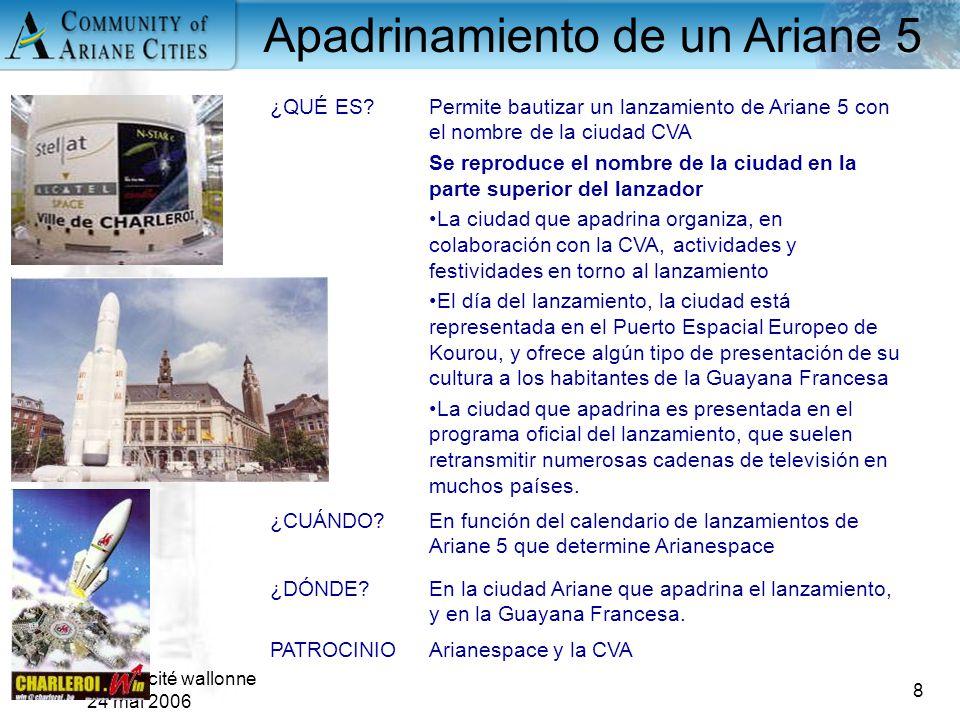 Charleroi, eurocité wallonne 24 mai 2006 8 ¿QUÉ ES?Permite bautizar un lanzamiento de Ariane 5 con el nombre de la ciudad CVA Se reproduce el nombre d