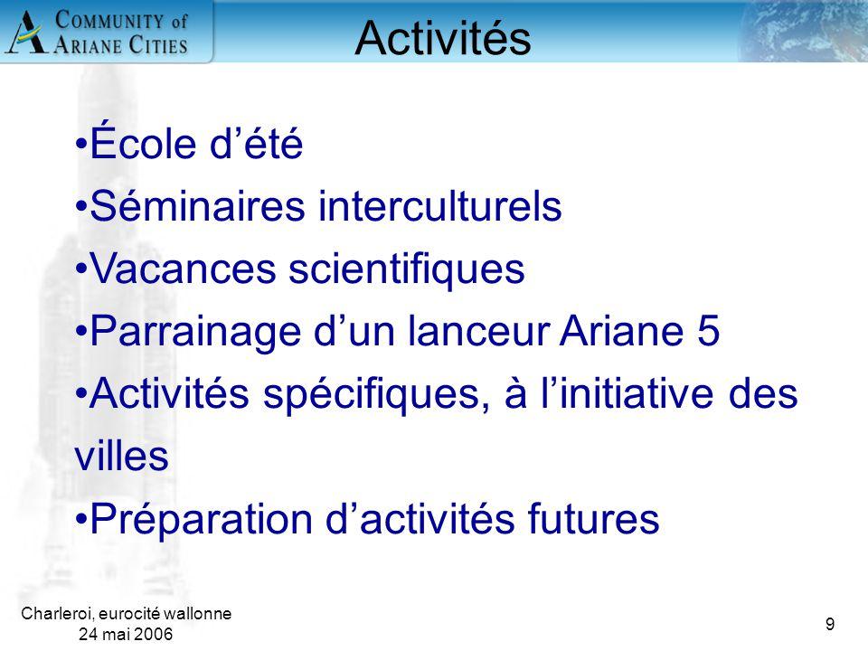 Charleroi, eurocité wallonne 24 mai 2006 9 École d'été Séminaires interculturels Vacances scientifiques Parrainage d'un lanceur Ariane 5 Activités spé
