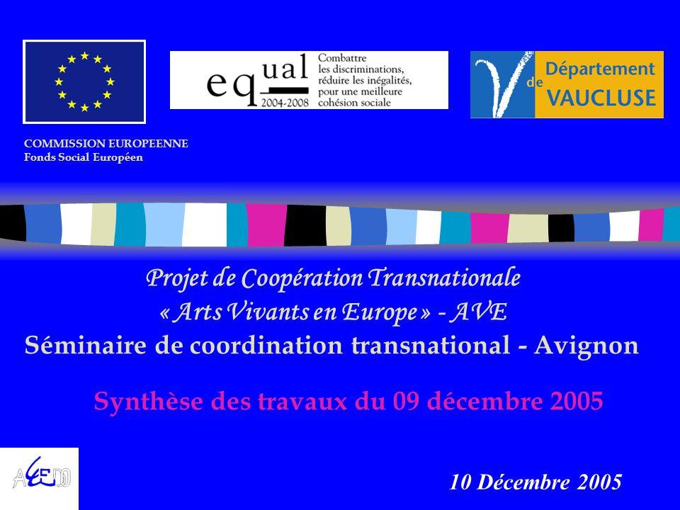 Synthèse des travaux du 09 décembre 2005 COMMISSION EUROPEENNE Fonds Social Européen Projet de Coopération Transnationale « Arts Vivants en Europe » - AVE Séminaire de coordination transnational - Avignon 10 Décembre 2005