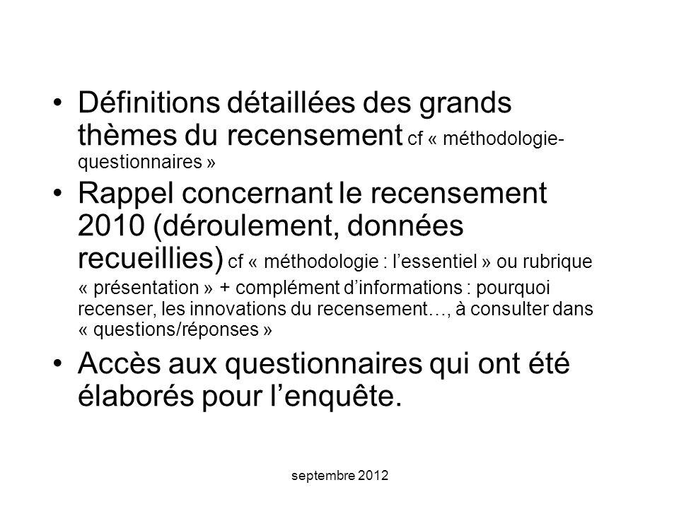 septembre 2012 Définitions détaillées des grands thèmes du recensement cf « méthodologie- questionnaires » Rappel concernant le recensement 2010 (déro