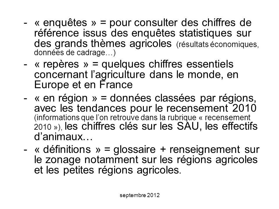 septembre 2012 -« enquêtes » = pour consulter des chiffres de référence issus des enquêtes statistiques sur des grands thèmes agricoles (résultats économiques, données de cadrage…) -« repères » = quelques chiffres essentiels concernant l'agriculture dans le monde, en Europe et en France -« en région » = données classées par régions, avec les tendances pour le recensement 2010 (informations que l'on retrouve dans la rubrique « recensement 2010 »), les chiffres clés sur les SAU, les effectifs d'animaux… -« définitions » = glossaire + renseignement sur le zonage notamment sur les régions agricoles et les petites régions agricoles.