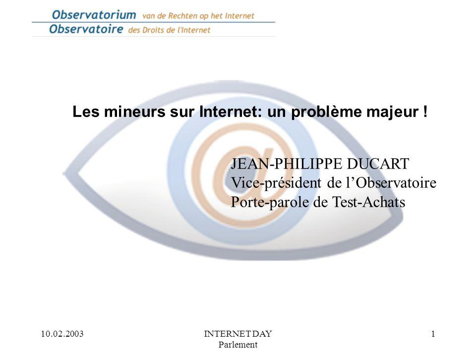 10.02.2003INTERNET DAY Parlement 1 Les mineurs sur Internet: un problème majeur .