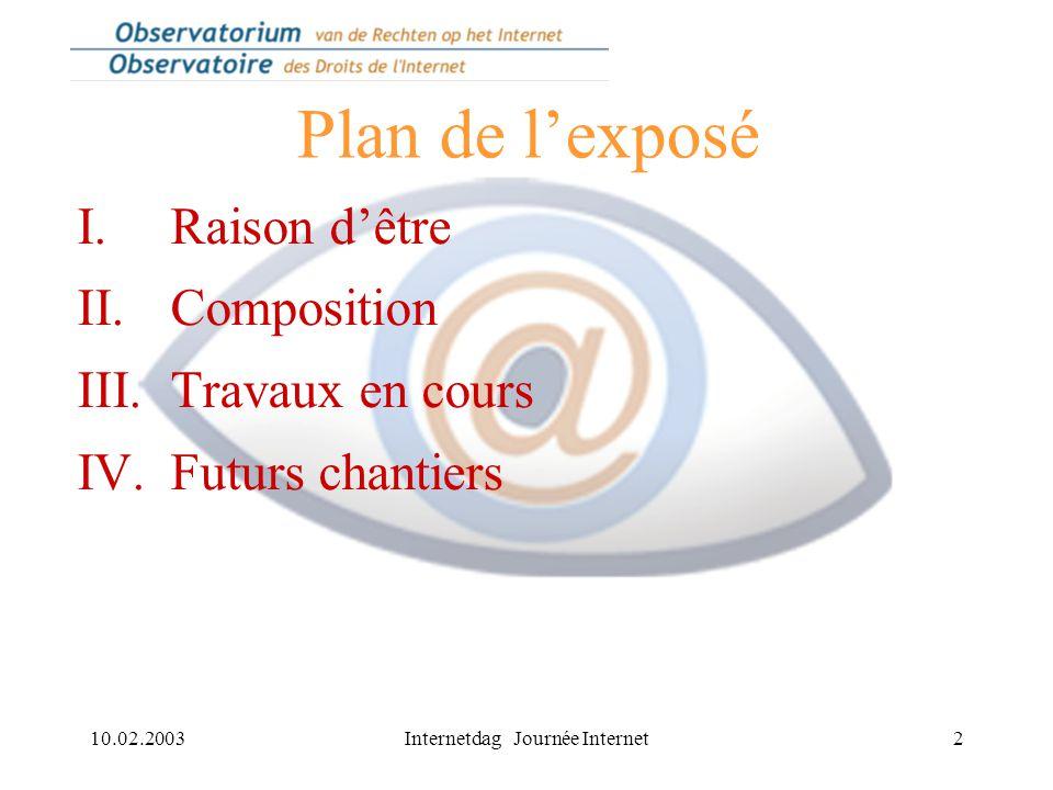 10.02.2003Internetdag Journée Internet2 Plan de l'exposé I.Raison d'être II.Composition III.Travaux en cours IV.Futurs chantiers