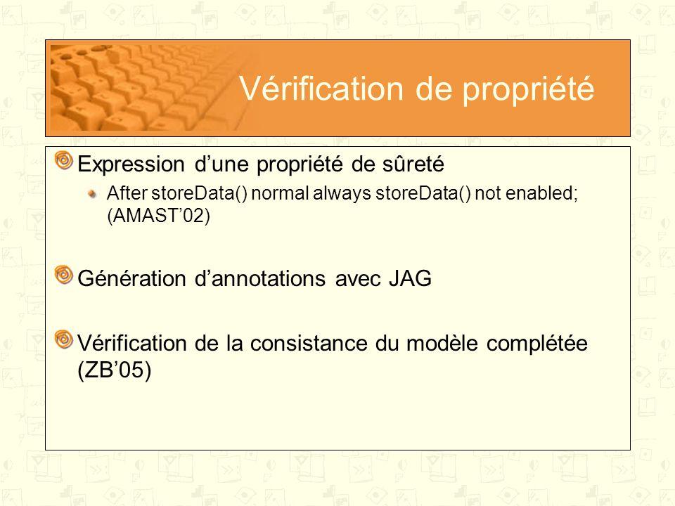 Vérification de propriété Expression d'une propriété de sûreté After storeData() normal always storeData() not enabled; (AMAST'02) Génération d'annotations avec JAG Vérification de la consistance du modèle complétée (ZB'05)