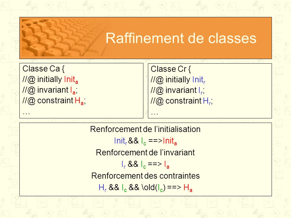 Raffinement de classes Classe Ca { //@ initially Init a //@ invariant I a ; //@ constraint H a ; … Classe Cr { //@ initially Init r //@ invariant I r ; //@ constraint H r ; … Renforcement de l'initialisation Init r && I c ==>Init a Renforcement de l'invariant I r && I c ==> I a Renforcement des contraintes H r && I c && \old(I c ) ==> H a