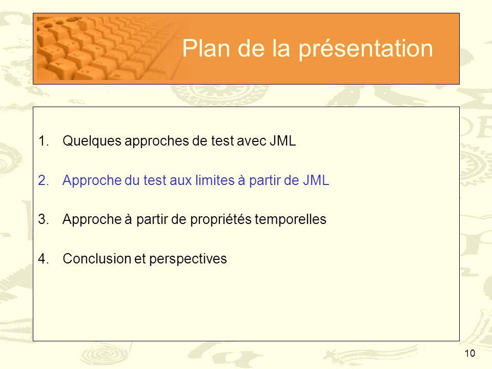 10 Plan de la présentation 1.Quelques approches de test avec JML 2.Approche du test aux limites à partir de JML 3.Approche à partir de propriétés temp