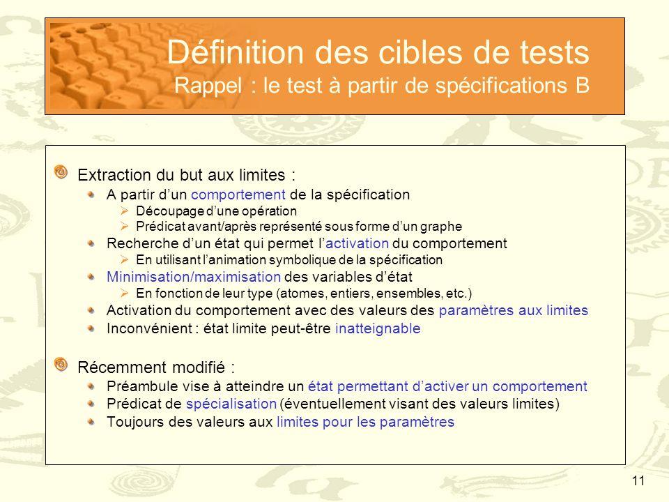 11 Définition des cibles de tests Rappel : le test à partir de spécifications B Extraction du but aux limites : A partir d'un comportement de la spéci