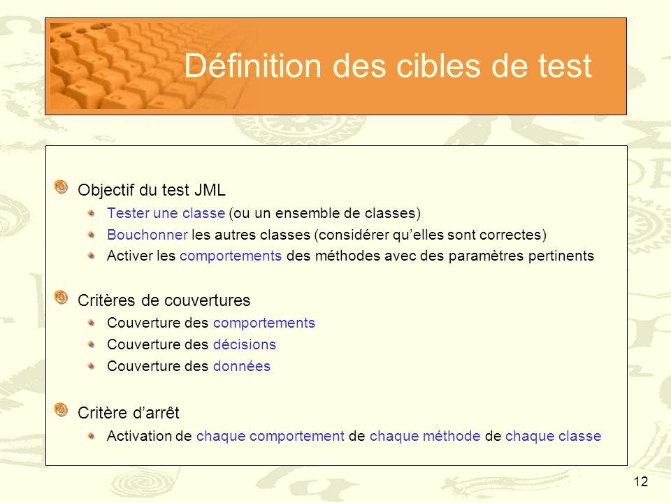 12 Définition des cibles de test Objectif du test JML Tester une classe (ou un ensemble de classes) Bouchonner les autres classes (considérer qu'elles