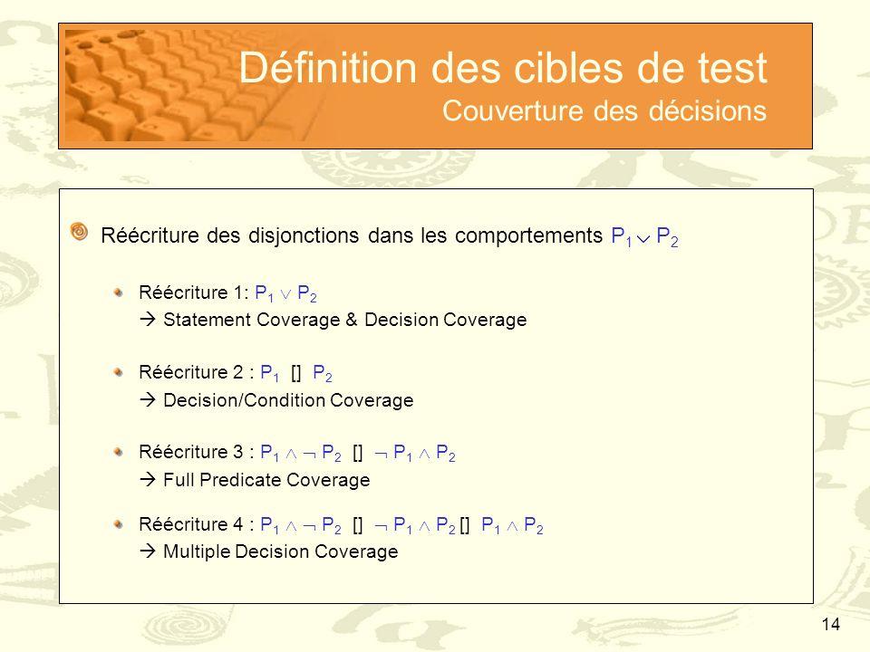 14 Définition des cibles de test Couverture des décisions Réécriture des disjonctions dans les comportements P 1  P 2 Réécriture 1: P 1  P 2  State