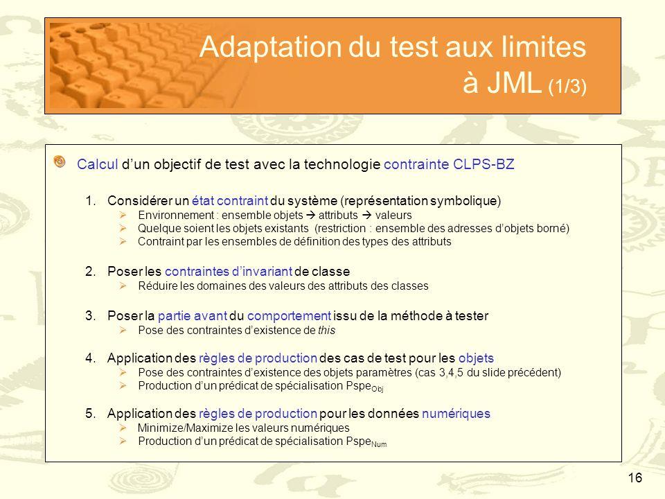 16 Adaptation du test aux limites à JML (1/3) Calcul d'un objectif de test avec la technologie contrainte CLPS-BZ 1.Considérer un état contraint du sy