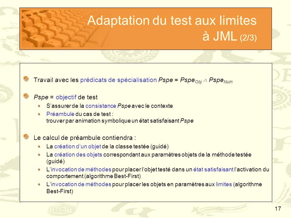 17 Adaptation du test aux limites à JML (2/3) Travail avec les prédicats de spécialisation Pspe = Pspe Obj  Pspe Num Pspe = objectif de test S'assure